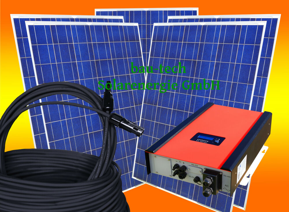 3kw 3000watt photovoltaikanlage pv solar anlage set mit wechselrichter ebay. Black Bedroom Furniture Sets. Home Design Ideas