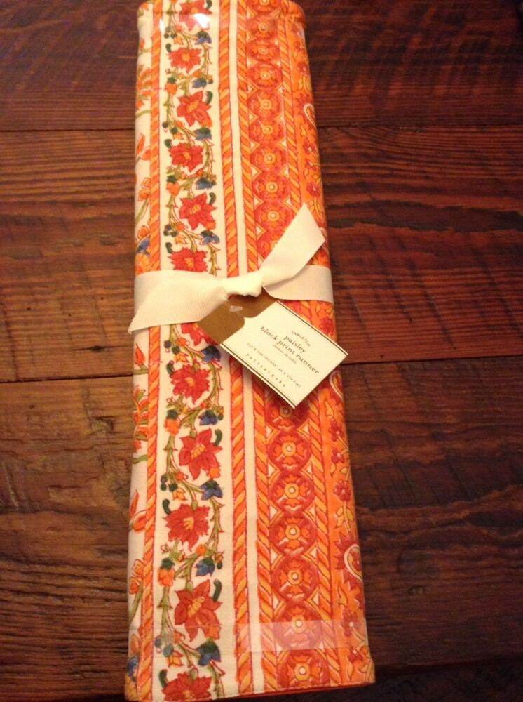 Nwt Pottery Barn Red Orange Warm Paisley Block Print Table