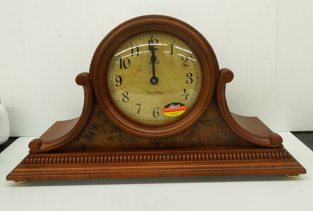 hermle mantle clock cherry finish dual chimes auto night shut off ebay. Black Bedroom Furniture Sets. Home Design Ideas