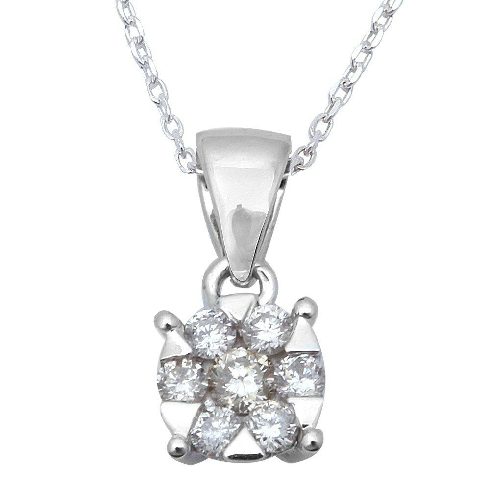14ct round diamond solitaire pendant necklace 14kt white. Black Bedroom Furniture Sets. Home Design Ideas