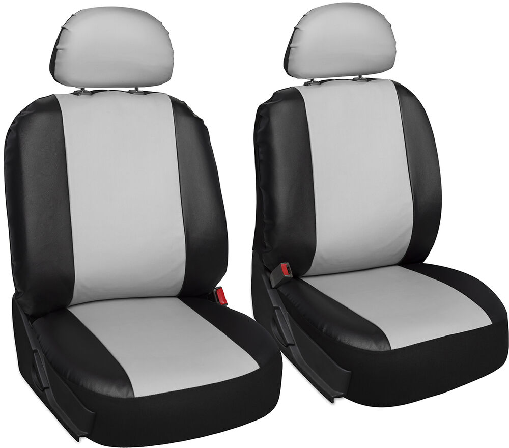 faux leather car seat covers white black 6pc bucket set w detachable head rests ebay. Black Bedroom Furniture Sets. Home Design Ideas