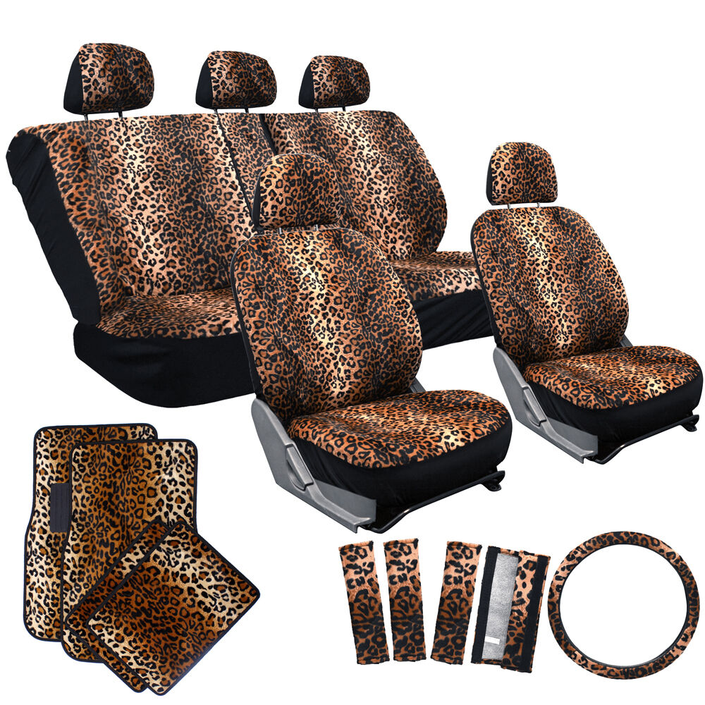 21pc Auto Seat Cover Leopard Cheetah Print For Truck Floor