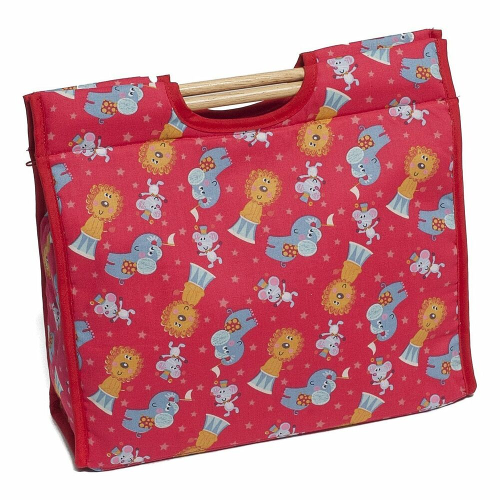 Knitting Pattern Storage Bag : Knitting Bag Craft Storage Circus Pattern featuring sturdy ...