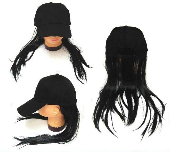 novelty baseball hat with long black hair costume ball cap women attached