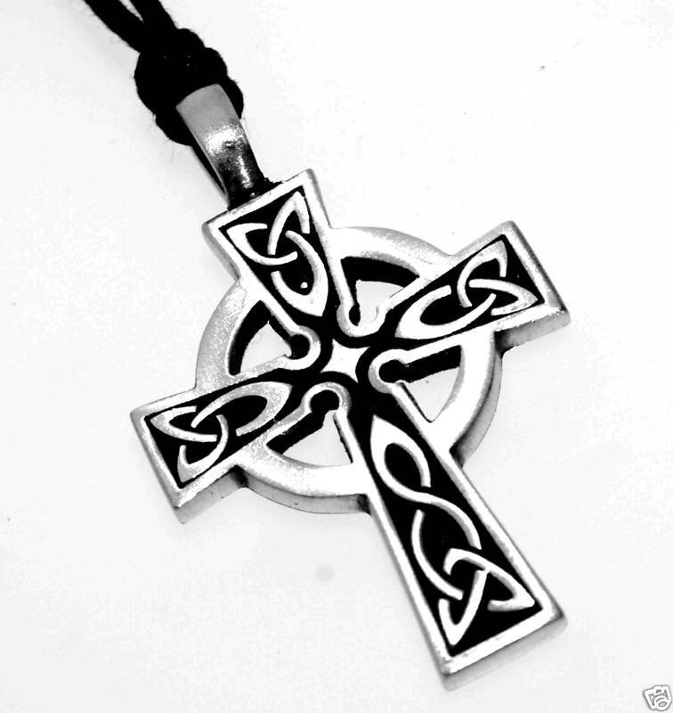 silver pewter irish wales celtic cross necklace pendant ebay. Black Bedroom Furniture Sets. Home Design Ideas