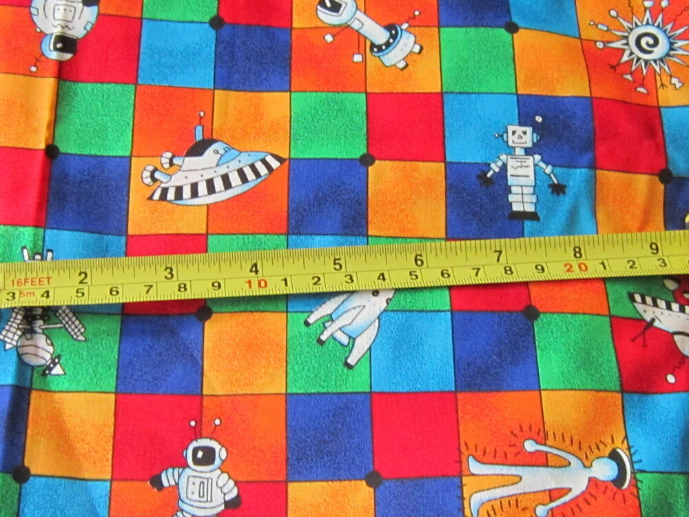 Aliens astronauts space novelty fabric material blocks for Kids novelty fabric