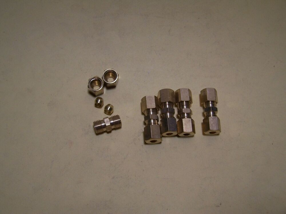 Brass compression fitting union for quot od hydraulic