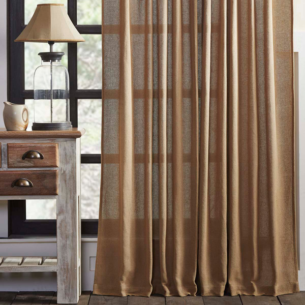 Burlap Natural Window Panels Set Rustic Primitive