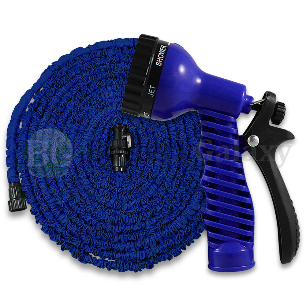 Deluxe 100 Feet 100ft Expandable Flexible Garden Water Hose Spray Nozzle Blue Ebay