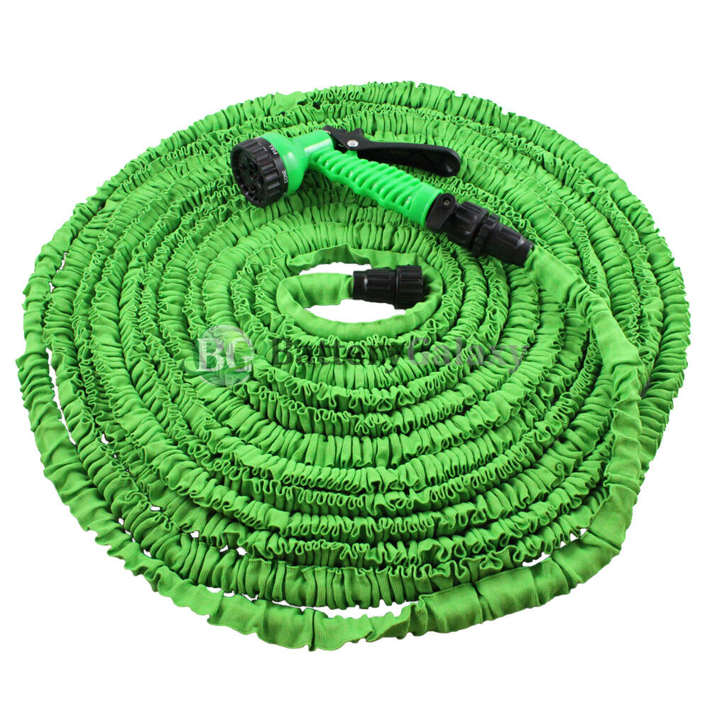 Deluxe 100 feet 100ft expandable flexible garden water hose spray nozzle green ebay Expandable garden hose 100 ft