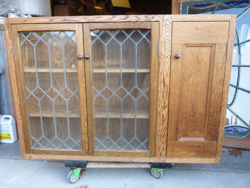 Pretty Custom Made Oak Kitchen Cabinet Salvaged Oak Leaded Glass Doors 57 X 39 Ebay