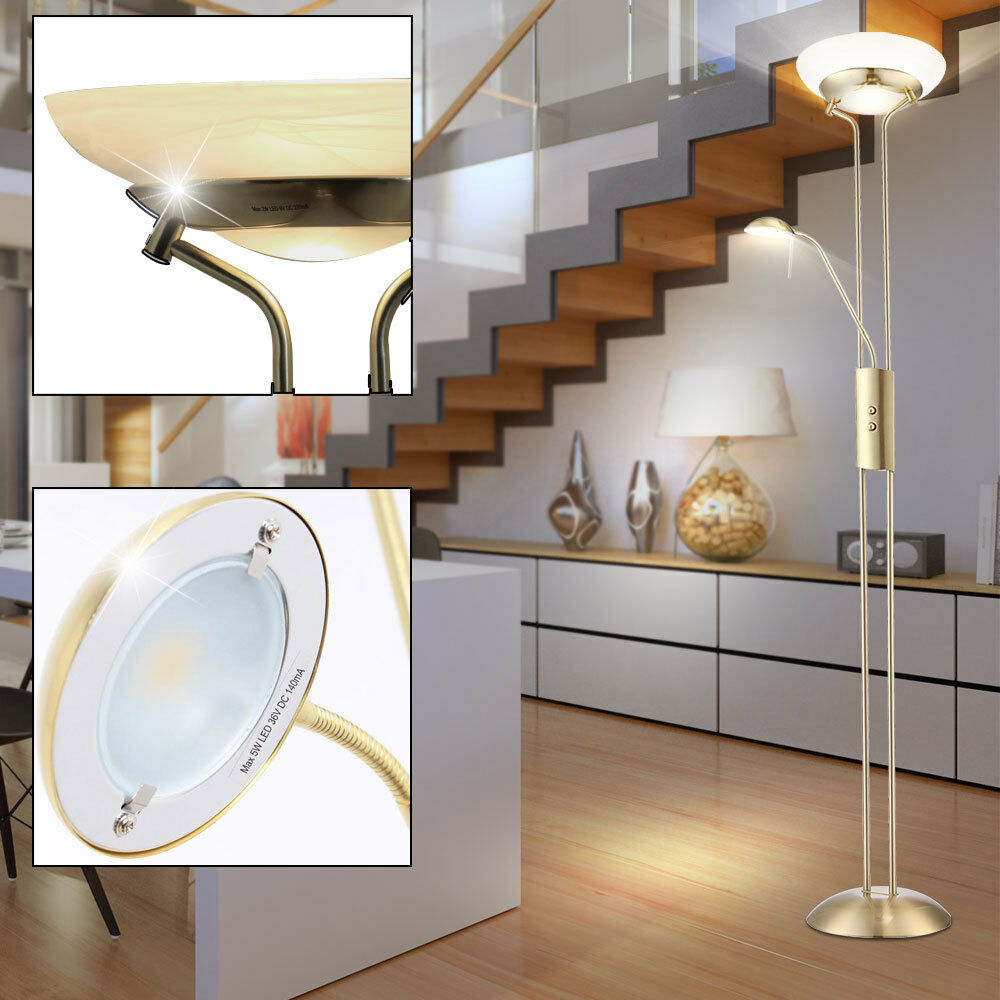 35w led decken fluter energie spar steh stand lampe lese leuchte licht dimmbar ebay. Black Bedroom Furniture Sets. Home Design Ideas