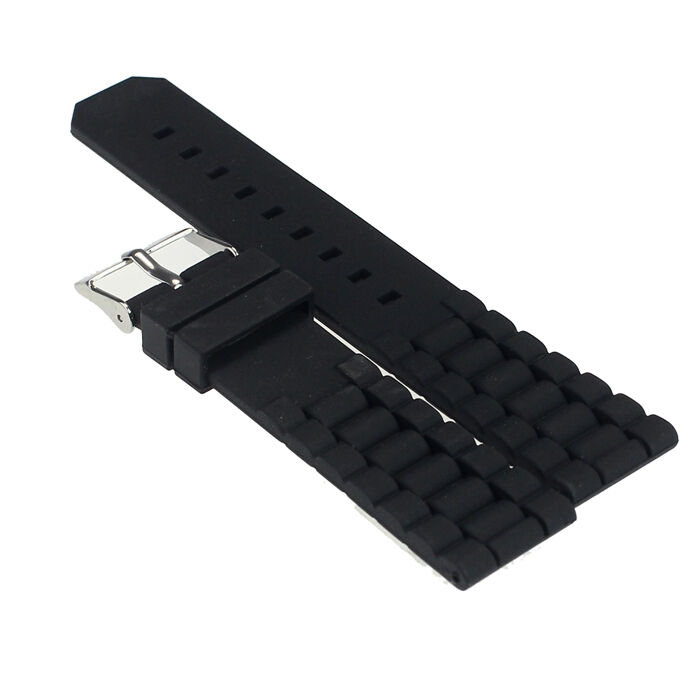Mens Black Silicone Rubber Diver Watch Band Strap For