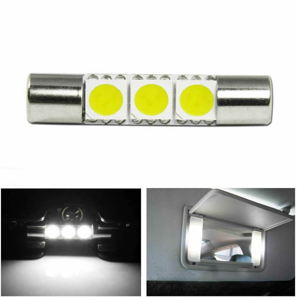1X Xenon White 3-SMD 6641 LED Bulb For Car Sun Visor Vanity Mirror Fuse Lights eBay