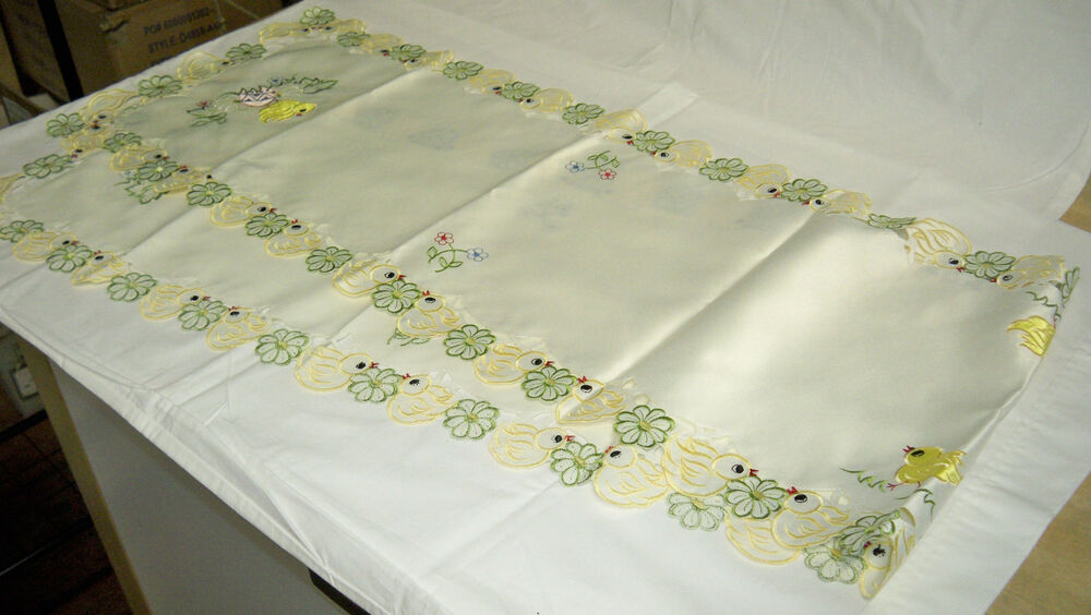easter embroidered table runner 72 inches x 13 inches ebay. Black Bedroom Furniture Sets. Home Design Ideas