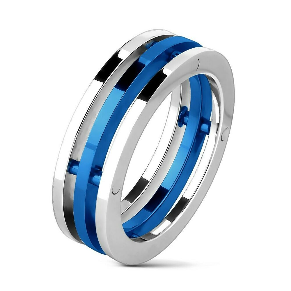 Stainless Steel Men S Three Band Silver Amp Blue Ring Size 8