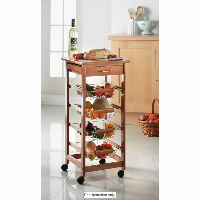kitchen produce storage 4 tier wooden kitchen vegetable fruit trolley cart with 2468