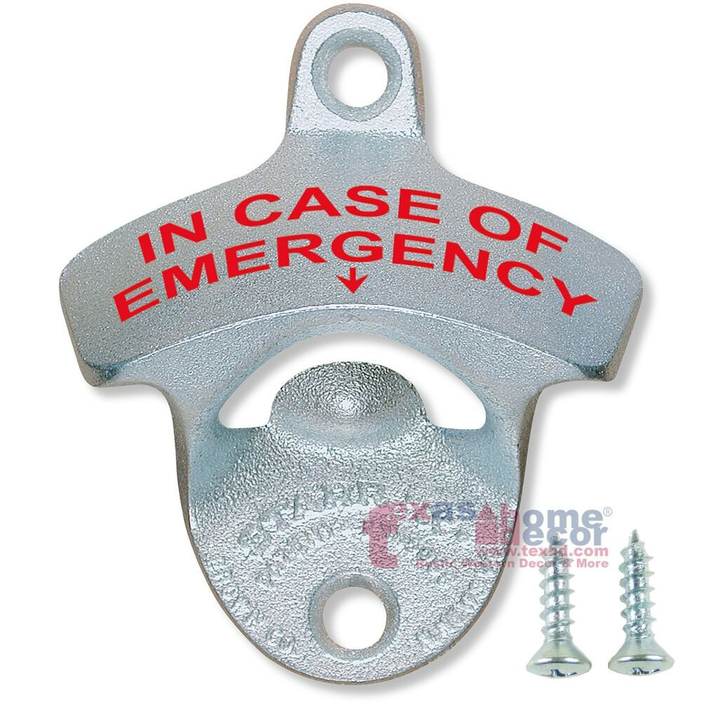 in case of emergency starr x cast iron beer bottle opener wall mount zinc plated ebay. Black Bedroom Furniture Sets. Home Design Ideas