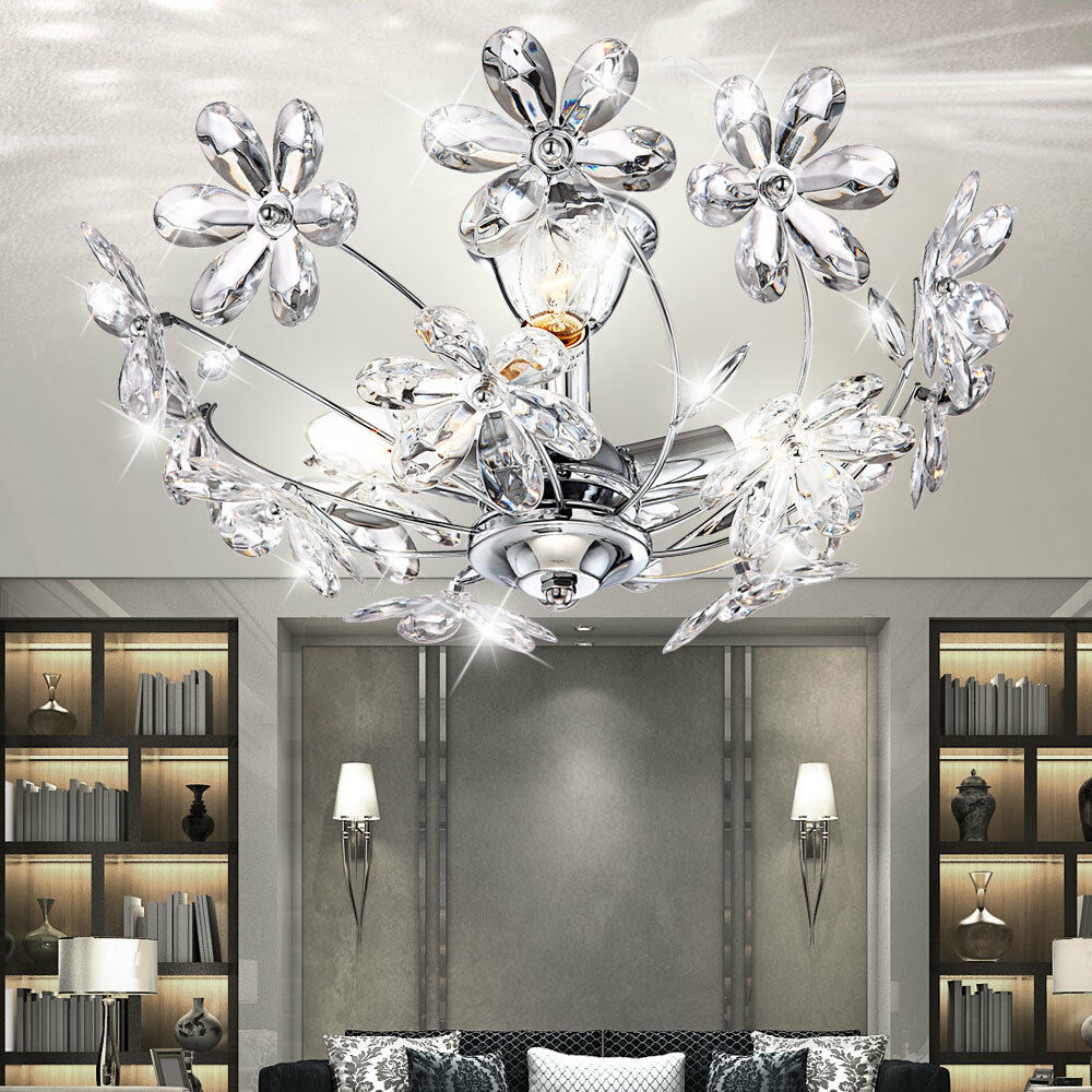 led 9w kronleuchter decken blumen lampe bl tter leuchte floral beleuchtung licht ebay. Black Bedroom Furniture Sets. Home Design Ideas