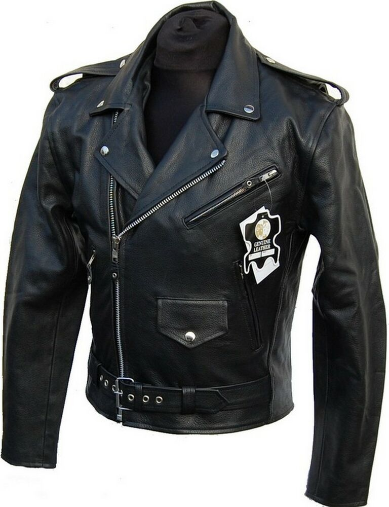 lederjacke rockabilly chopper biker leder jacke rocker punk echtes rindsleder ebay. Black Bedroom Furniture Sets. Home Design Ideas