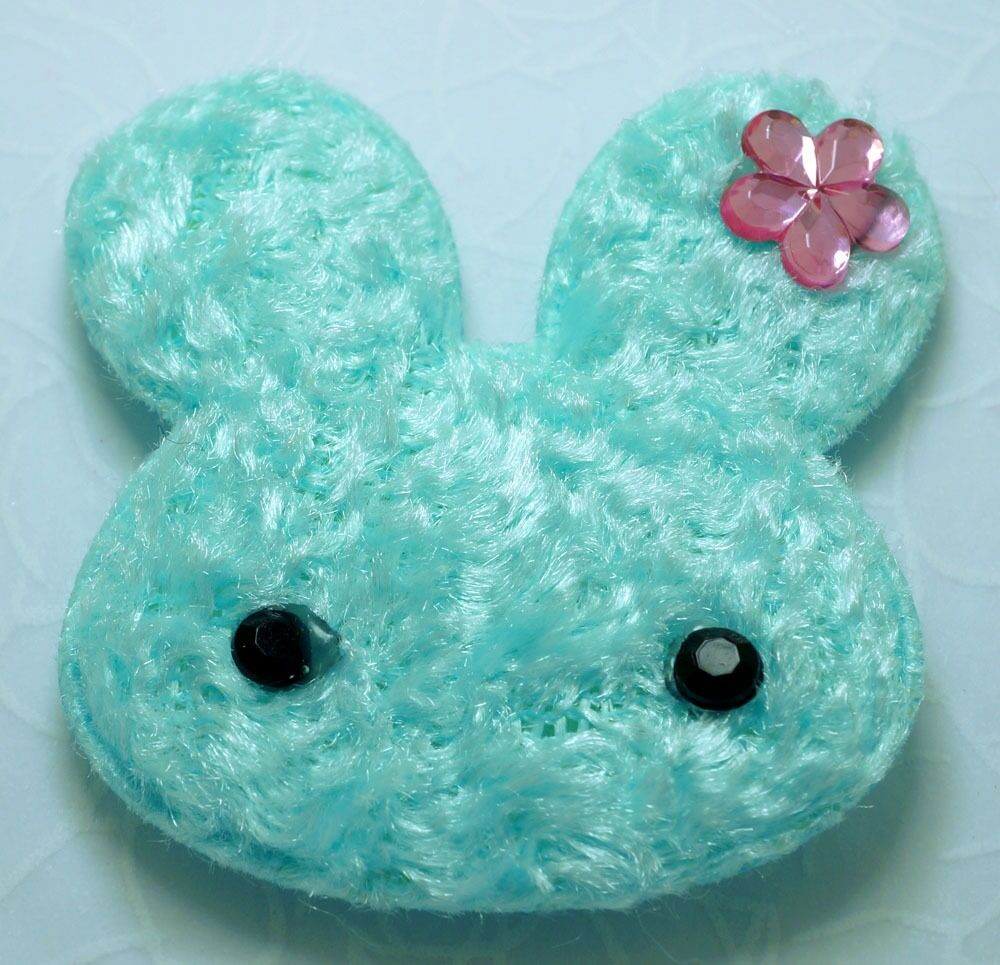 20 cute lt blue padded furry rabbit bunny appliques craft for Furry craft