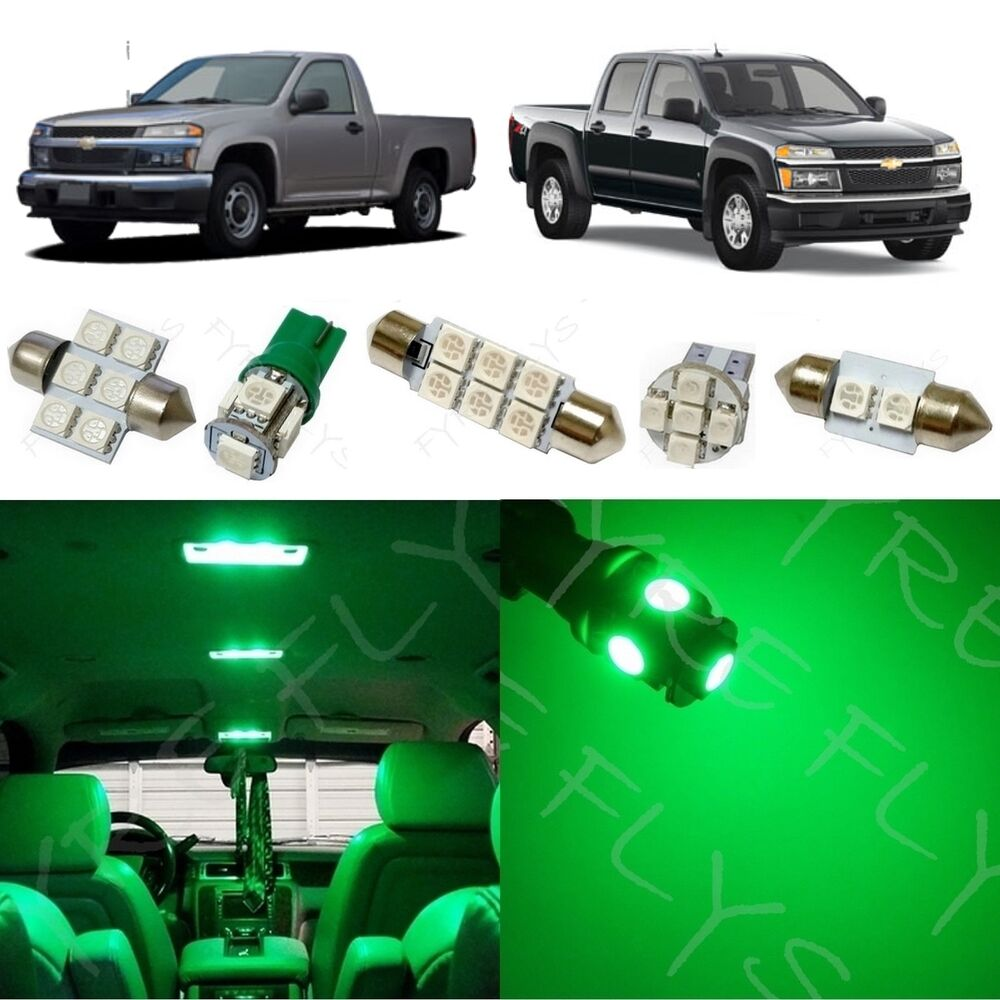 8x Green Led Lights Interior Package Kit For 2004 2012 Chevy Colorado Cc3g Ebay