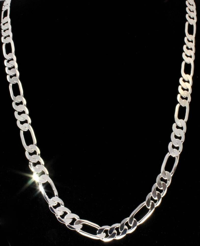 7mm silver finish classic figaro chain link solid mens
