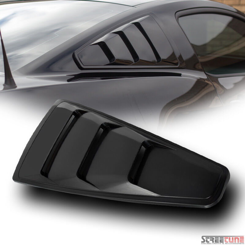 Blk Gt 3 Vent Style Quarter Side Window Louvers Cover Kit