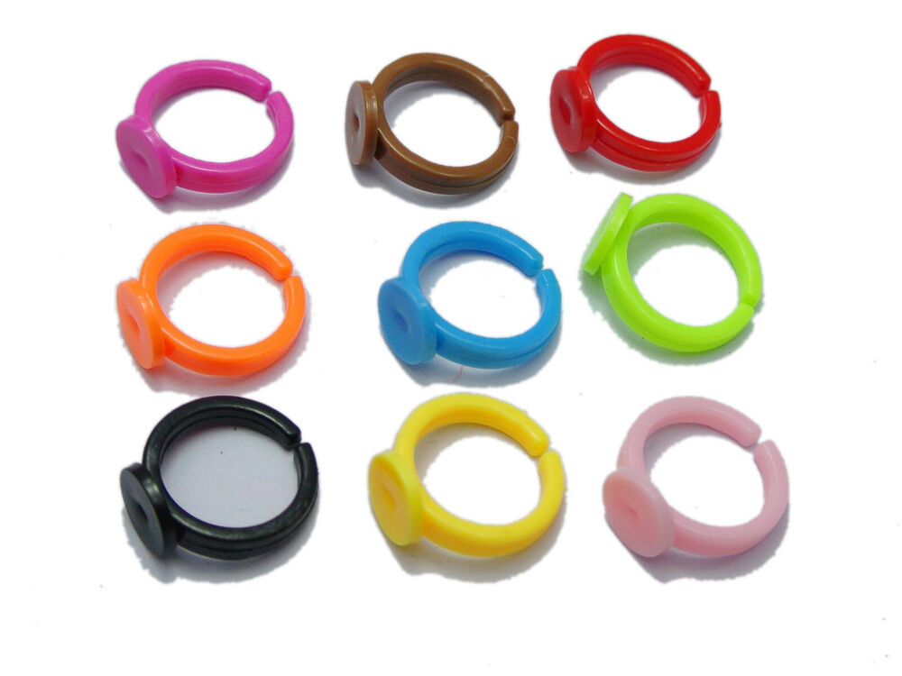 100 mixed color plastic adjustable kids ring blank for What kind of glue to use for jewelry
