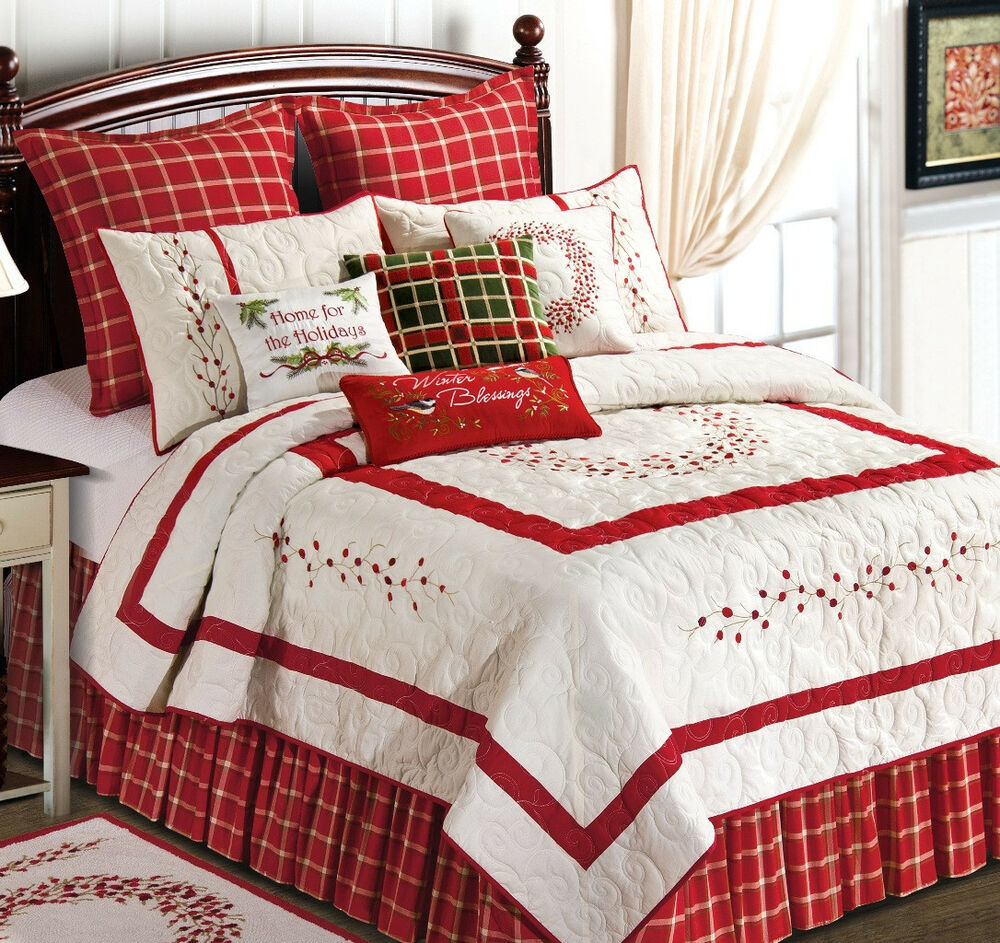 Red Berry Embroidered Full Queen Quilt Garden Christmas