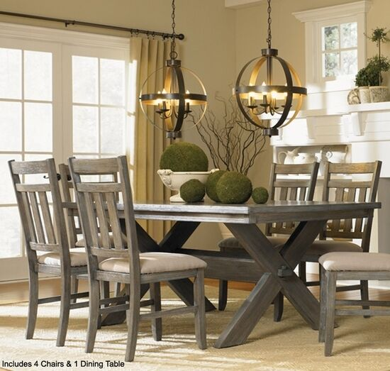 Grey Kitchen Dining Sets: Powell Turino Grey Oak Dining Room Kitchen Table 4 Chairs