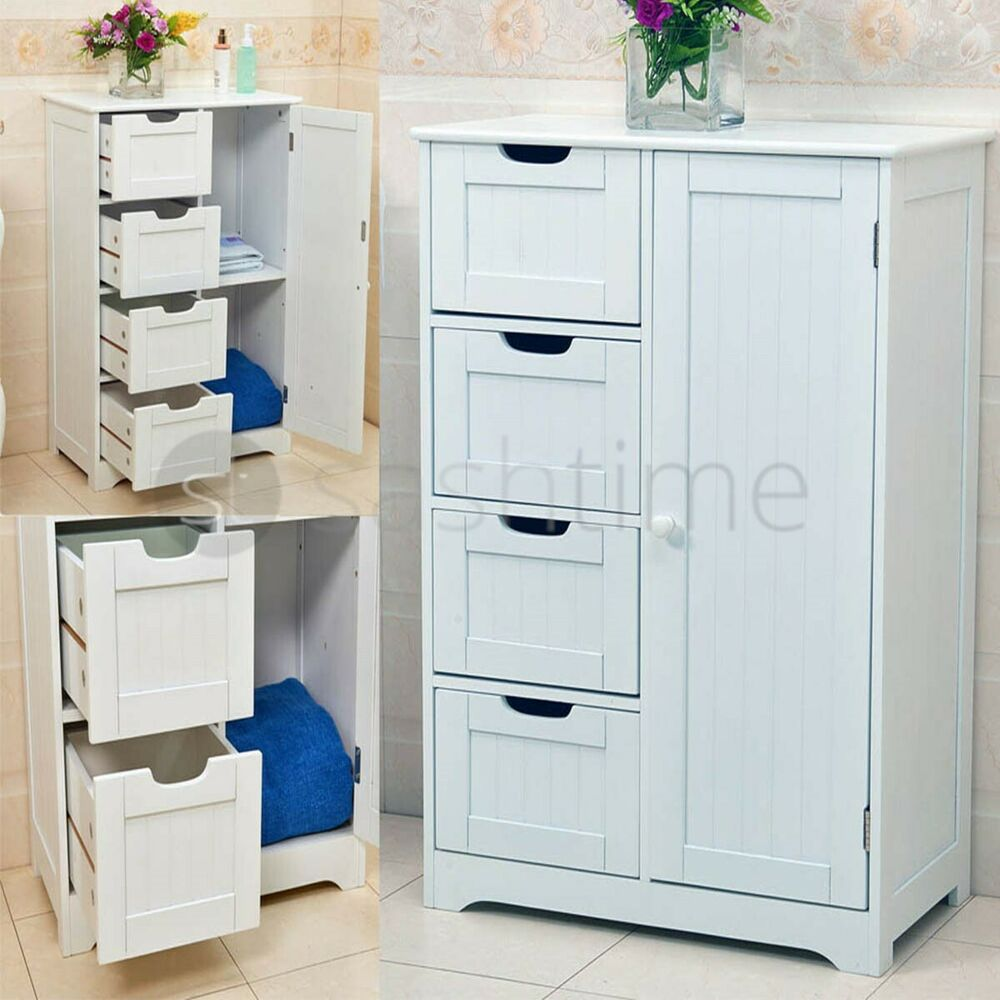 White Bathroom Furniture Storage Cupboard Cabinet Shelves: White Wooden 4 Drawer Bathroom Storage Cupboard Cabinet