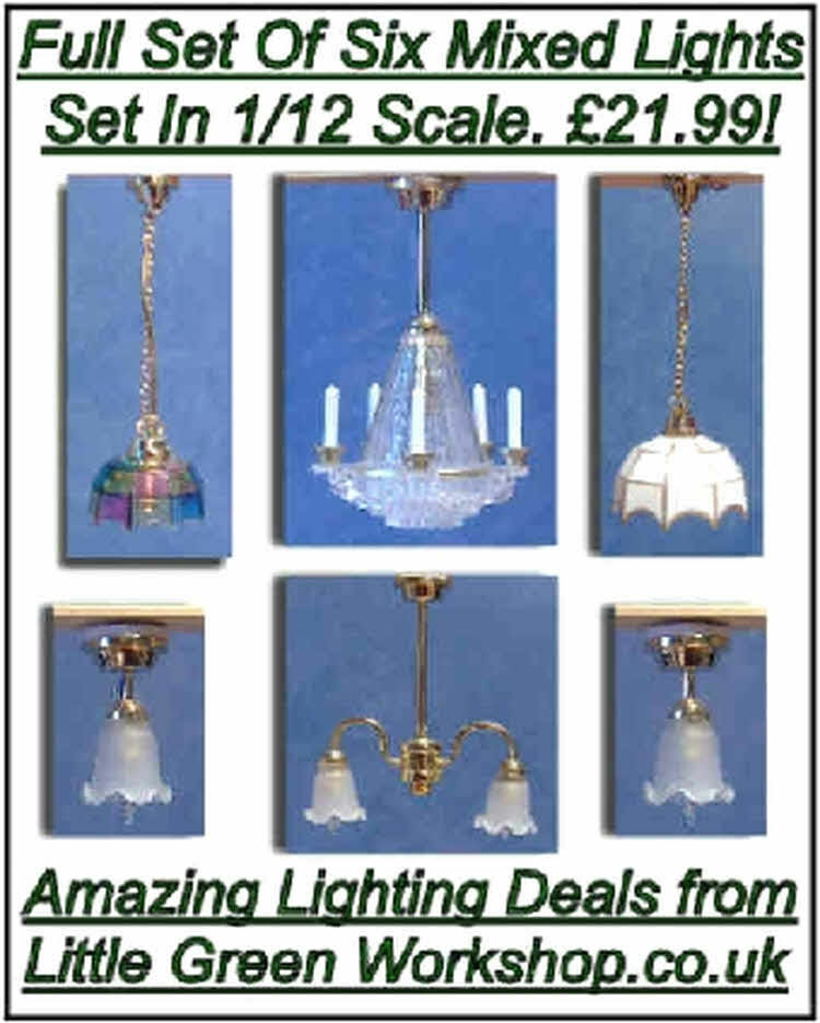 1/12 Dolls House Lighting Set Of 6 Mixed Lamp Lights