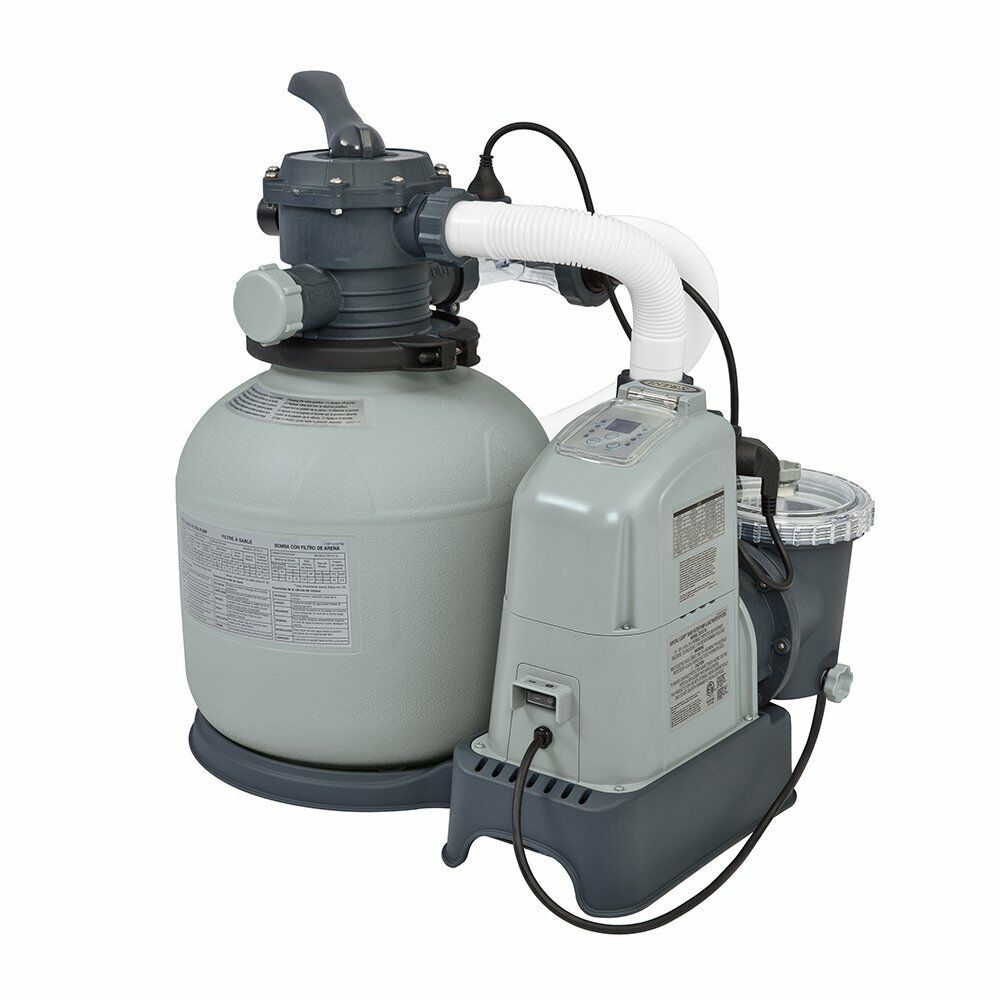 Intex 1600 gph saltwater system sand filter pump swimming pool set 28675eg ebay for Salt filters for swimming pools
