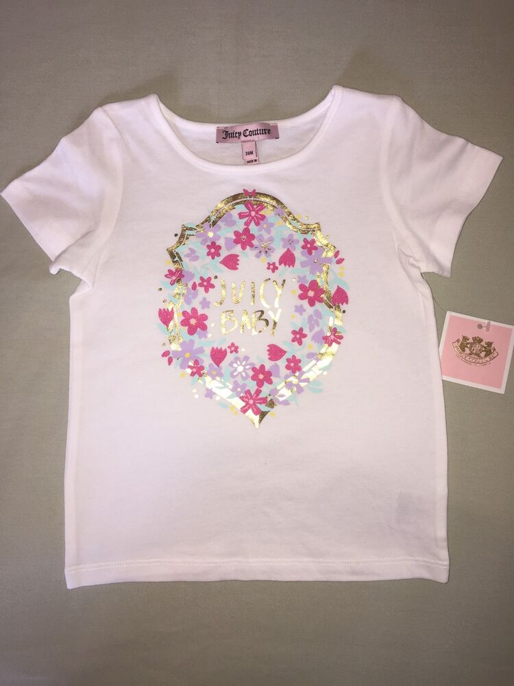 b46f793971a1 Details about NEW JUICY COUTURE 24 MONTHS T SHIRT WHITE JUICY BABY GOLD  PINK PURPLE FLOWERS