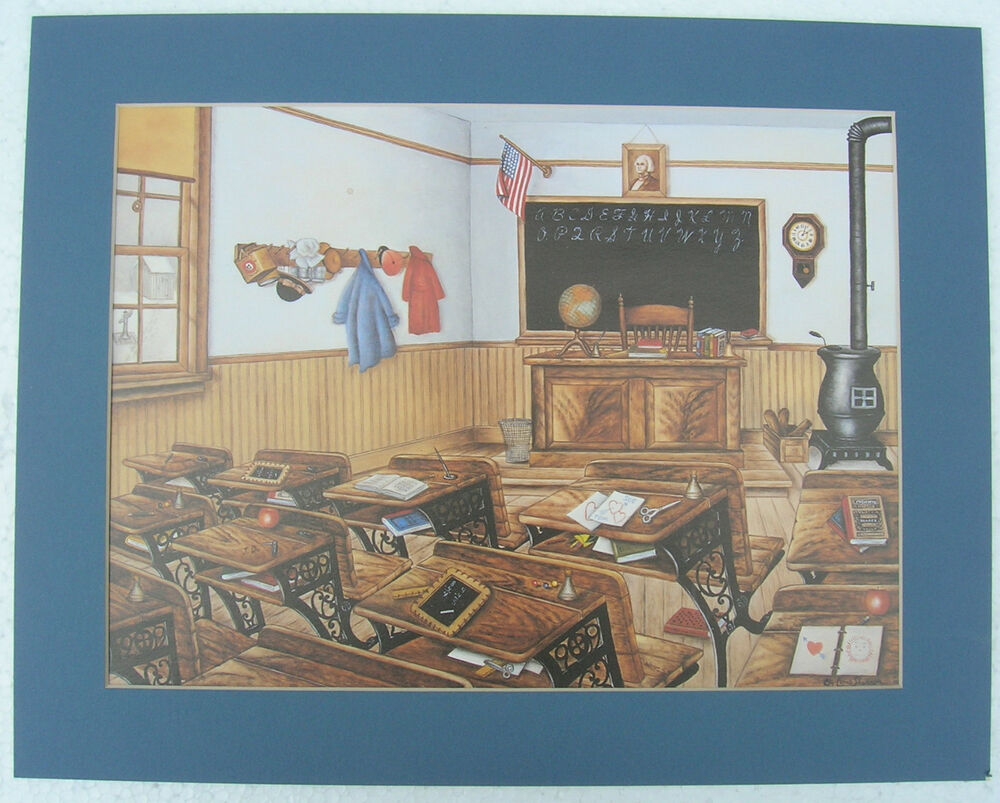 Old time school room matted country picture print interior for Home decorations on ebay
