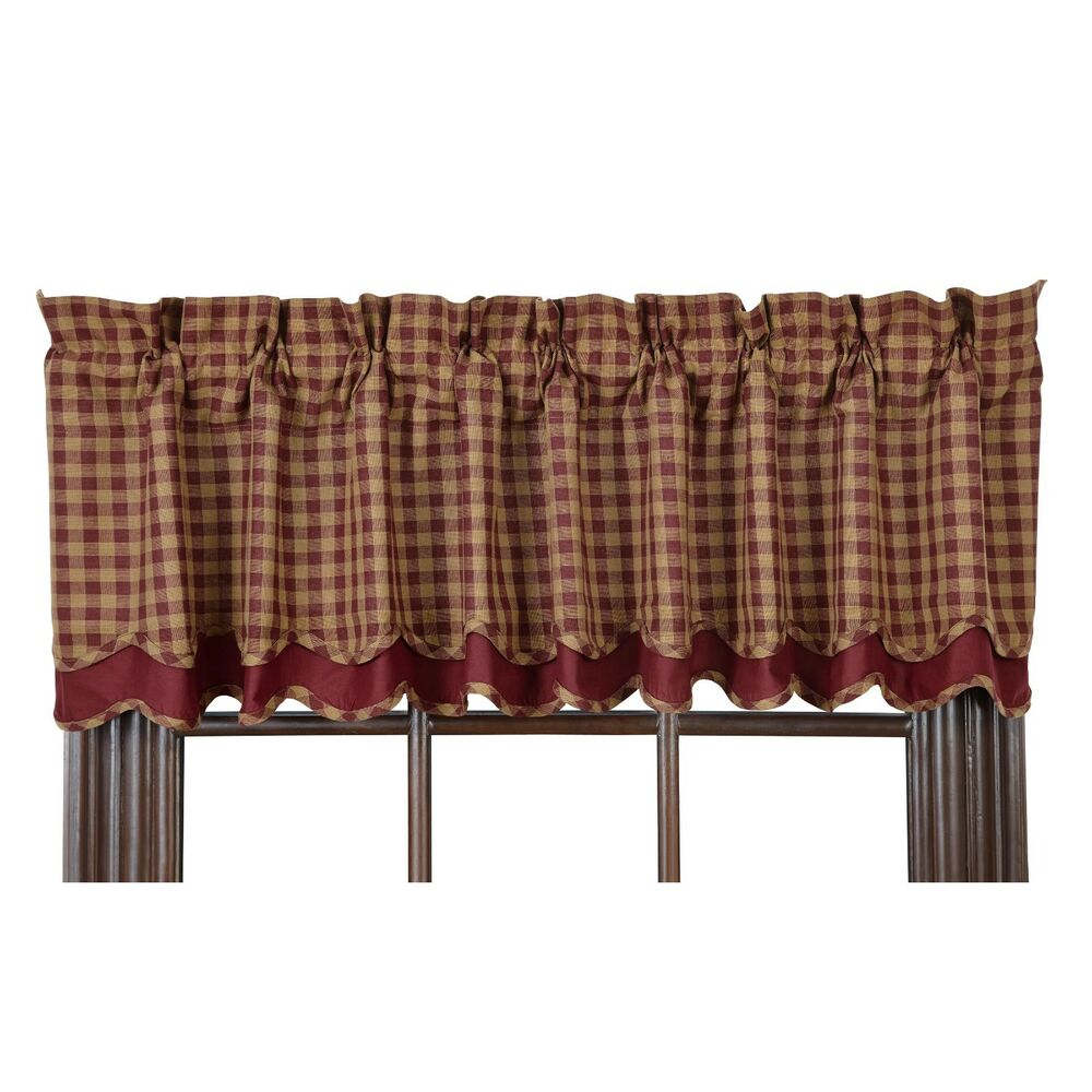BURGUNDY CHECK LAYERED Scalloped Window Valance Rustic
