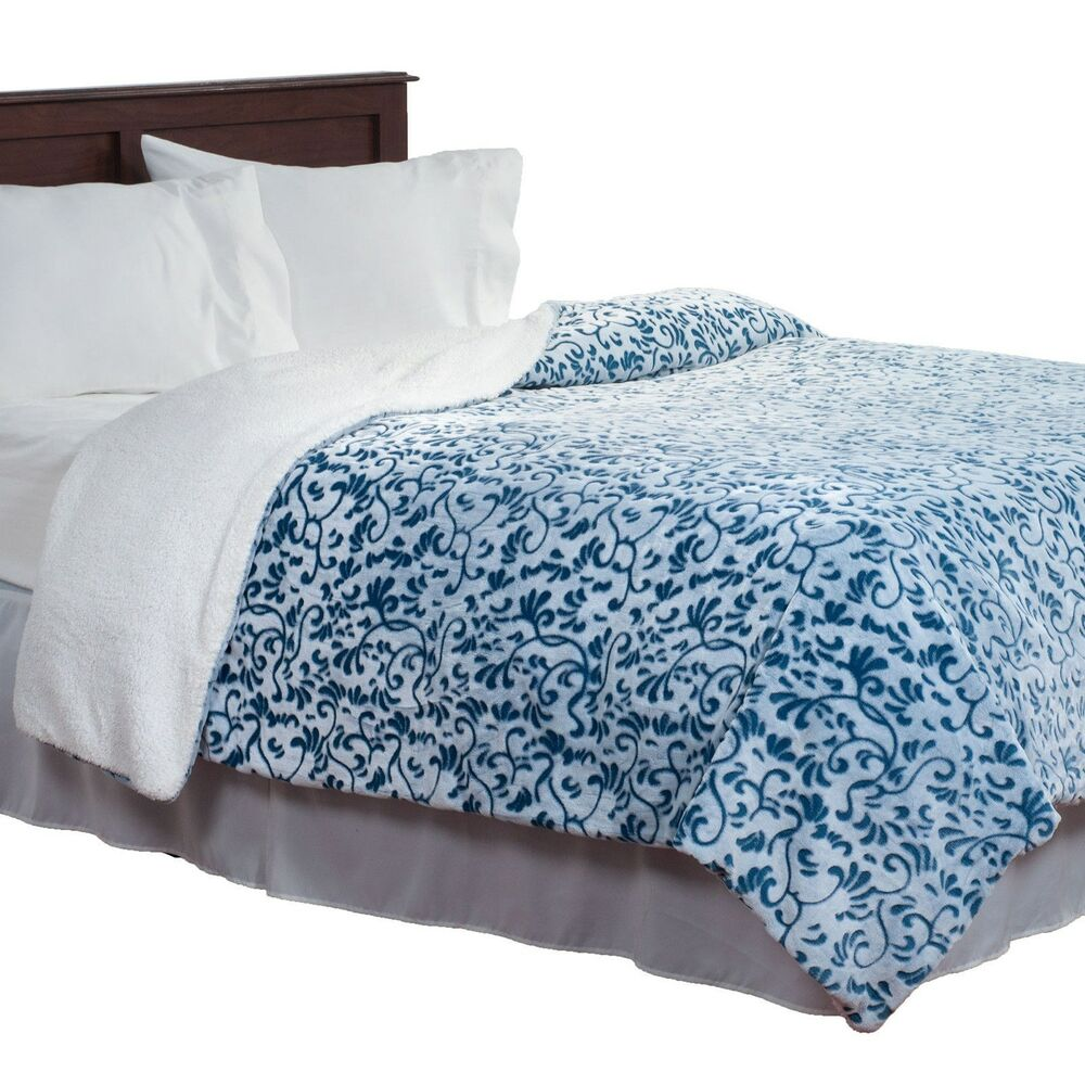 Blue and White Flowers Soft and Fuzzy Fluffy Queen Blanket ...