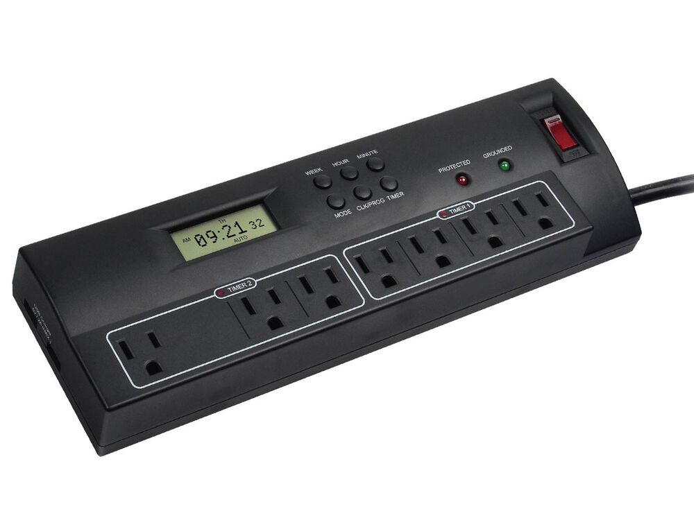 7 outlet power surge protector w dual timer controller 2 usb port 2100 joules ebay. Black Bedroom Furniture Sets. Home Design Ideas