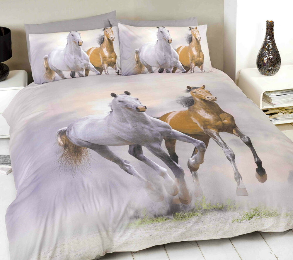 Horse Duvet Set Photgraphic Printed Double Bed Quilt Cover
