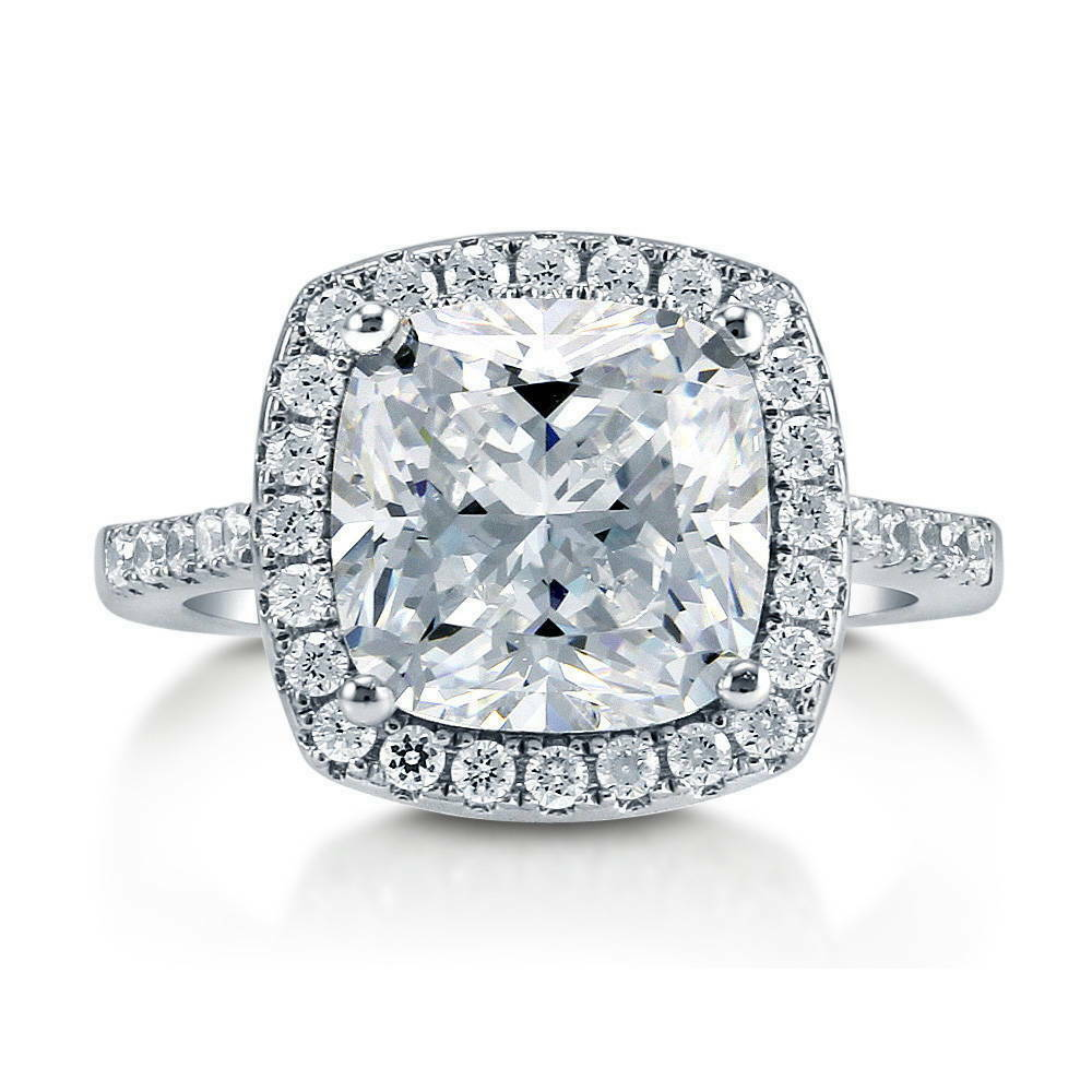 BERRICLE Sterling Silver Cushion Cut CZ Halo Engagement Ring 4 38 Carat