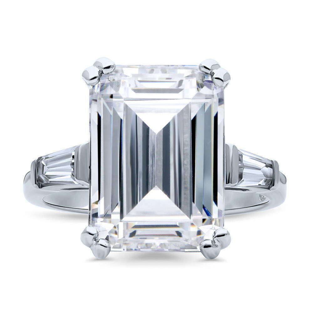Berricle Sterling Silver Emerald Cut Cz 3 Stone Engagement