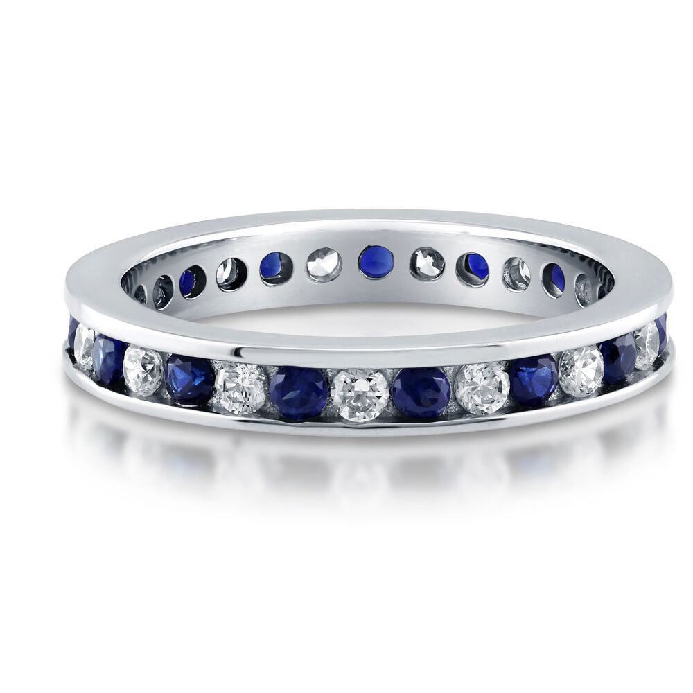 Berricle Silver Channel Set Simulated Sapphire Cz Eternity