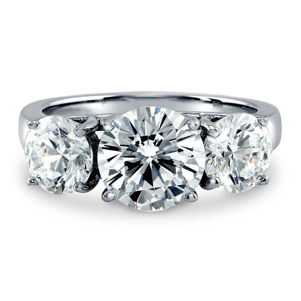 berricle sterling silver round cut cz 3 stone engagement. Black Bedroom Furniture Sets. Home Design Ideas