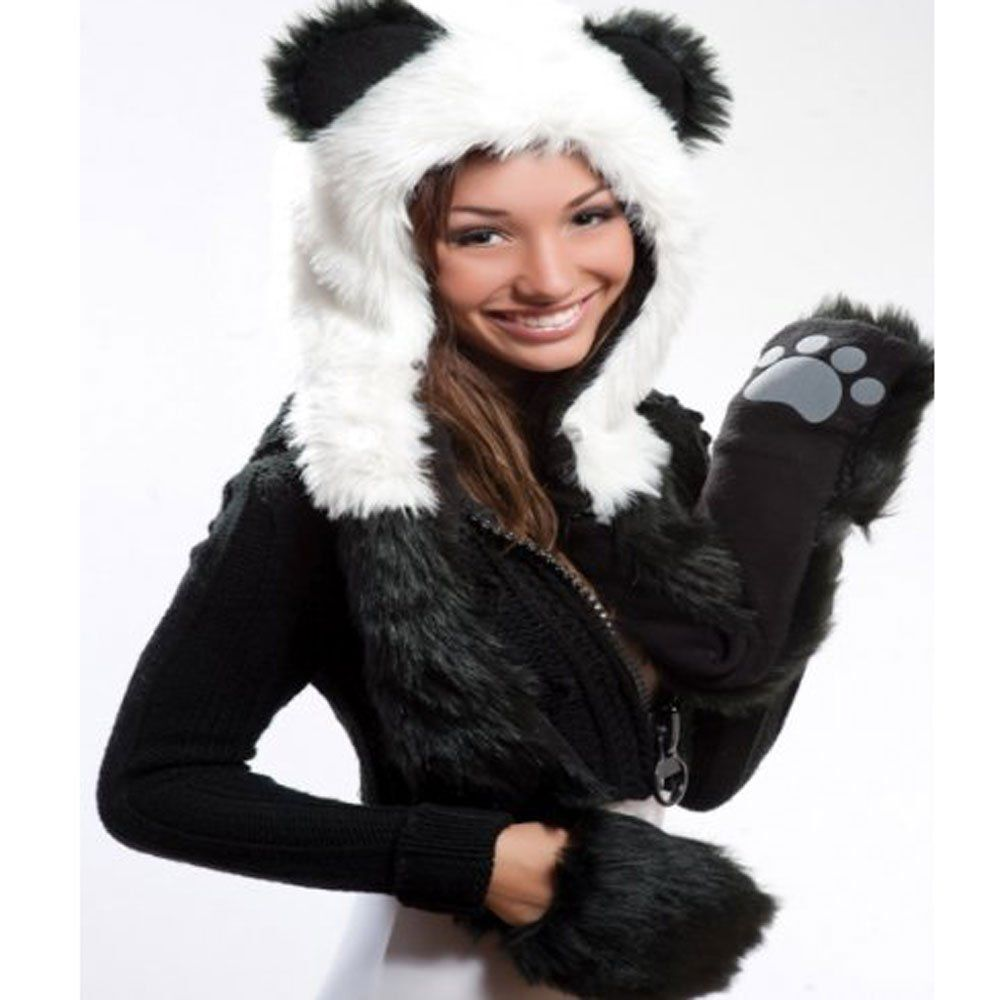 Plush Panda Hoodie Faux Fur Animal Full Hood Hat Beanie ...