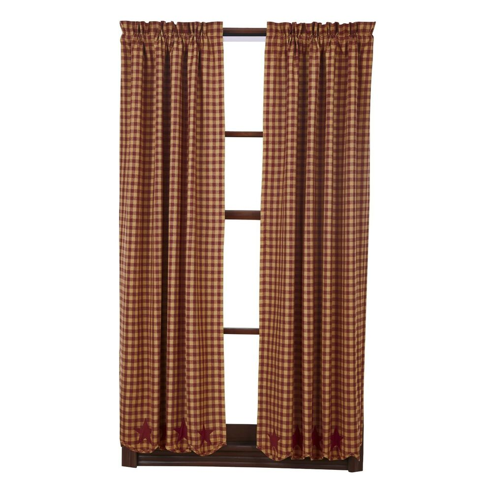 Burgundy Star Scalloped Short Panel Set Curtains Rustic