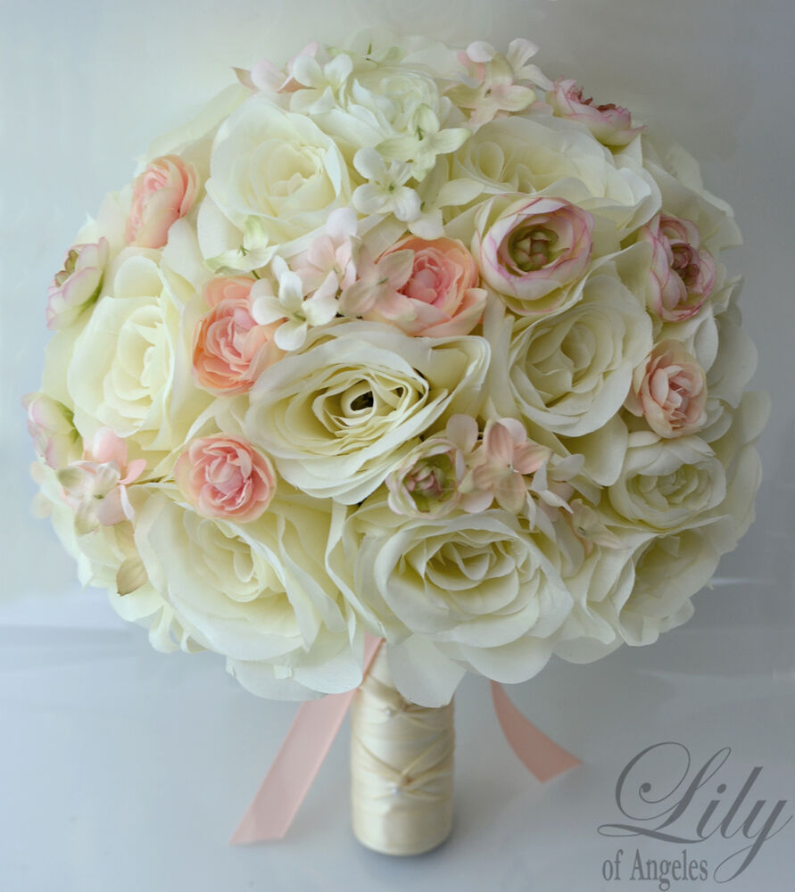 17pcs wedding bridal bouquet silk flower decoration package roses peach ivory ebay. Black Bedroom Furniture Sets. Home Design Ideas
