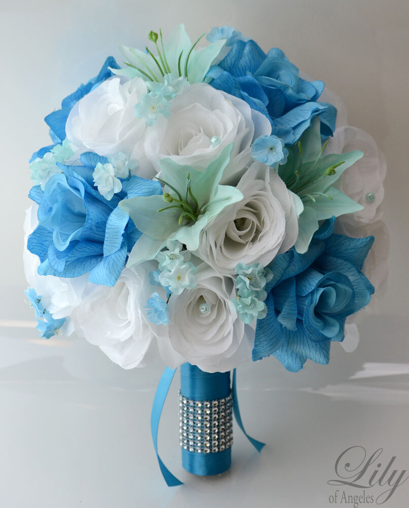 17pcs wedding bridal bouquet set silk flower decoration package turquoise blue ebay. Black Bedroom Furniture Sets. Home Design Ideas
