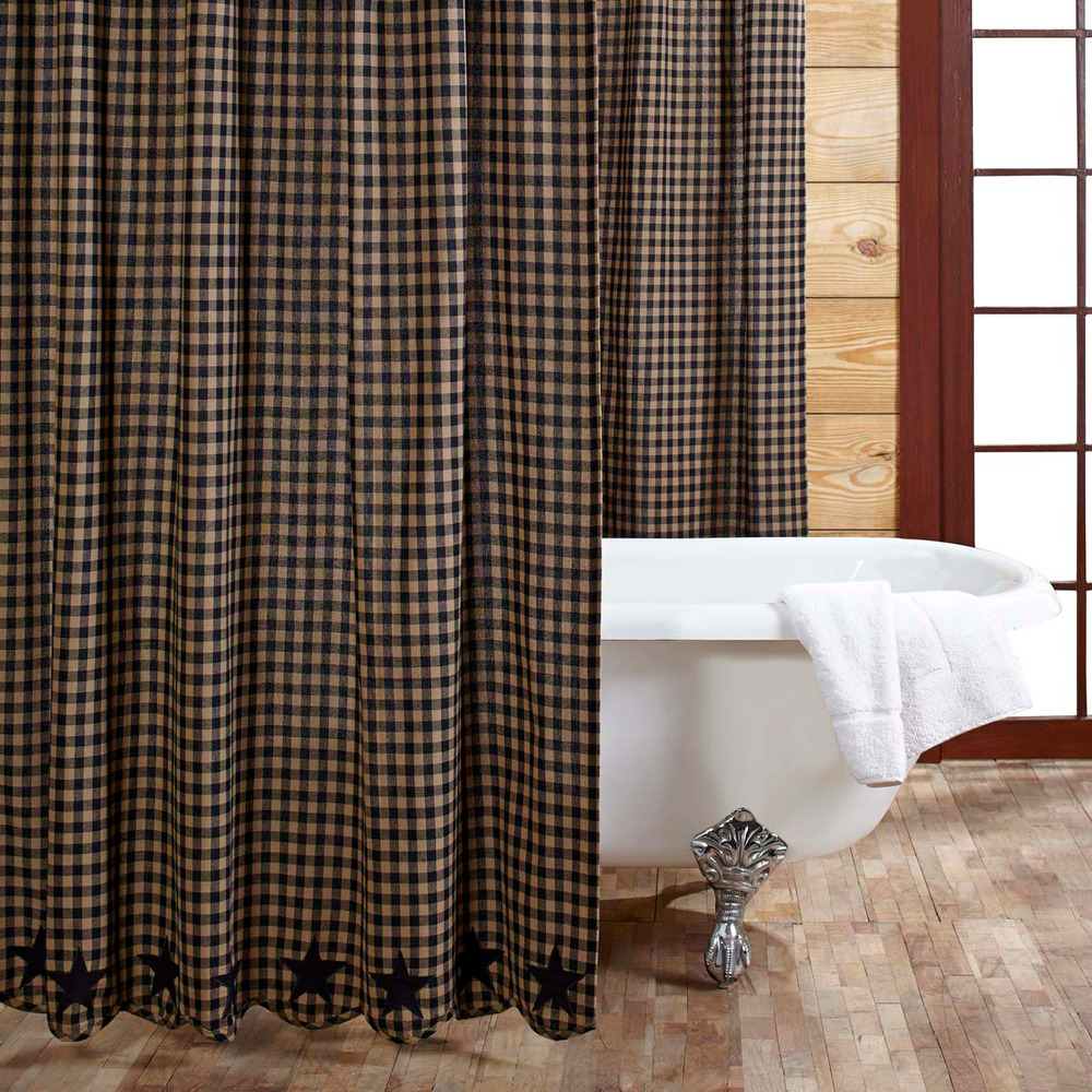 BLACK STAR Shower Curtain Country Applique Star Plaid Black Khaki Primitive