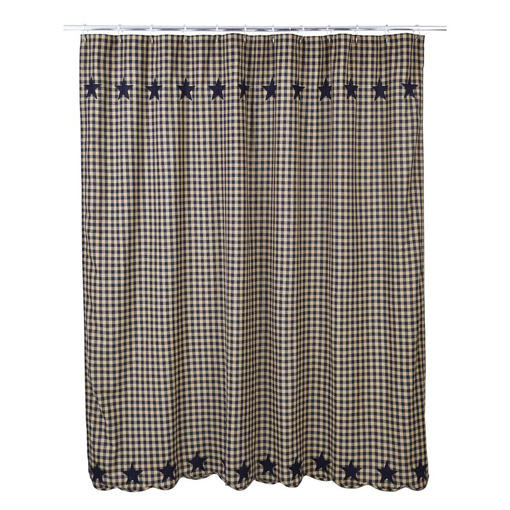 NAVY STAR Shower Curtain Country Applique Star Plaid Navy Khaki Check Primiti